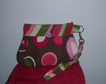 Pink, Green, Brown Zippered Wristlet