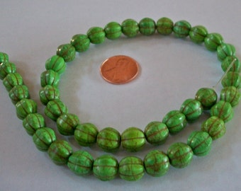 Lime Green Melon Shaped Bead Strand