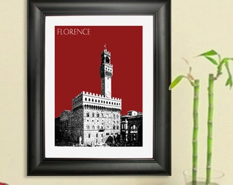 Florence Skyline Poster - Florence Italy City Art Print -  Palazzo Vecchio - 8 x 10 Choose Your Color
