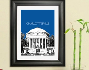 Skyline Poster Charlottesville VA - University of Virginia - Charlottesvile Virginia City Skyline - Art Print - 8 x 10 Choose Your Color