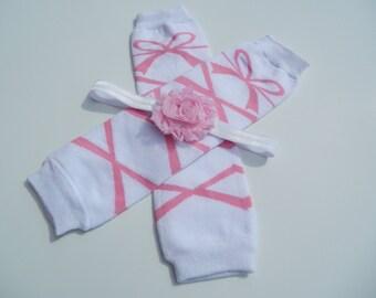 Pink Ballerina Legwarmer and Headband Set, Baby Headband, Shabby Chic Headband, Newborn Headband and Legwarmer Set, Baby Leggings