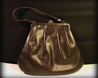 Vintage Dark Brown Leather 1950's Handbag