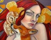 Owl fox Woman art 5x7 print