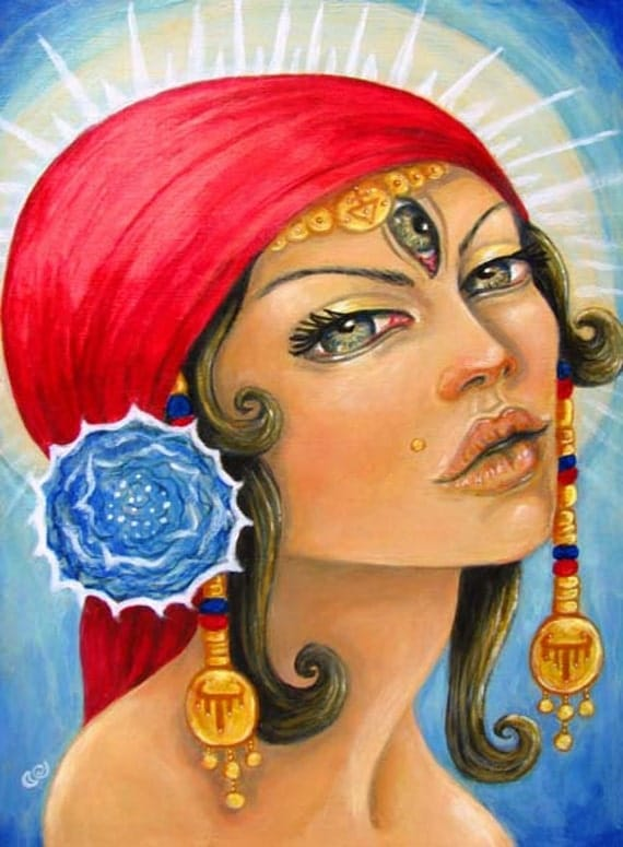 Gypsy Fortune Teller Third Eye Boho Surreal Portrait 5x7 Art