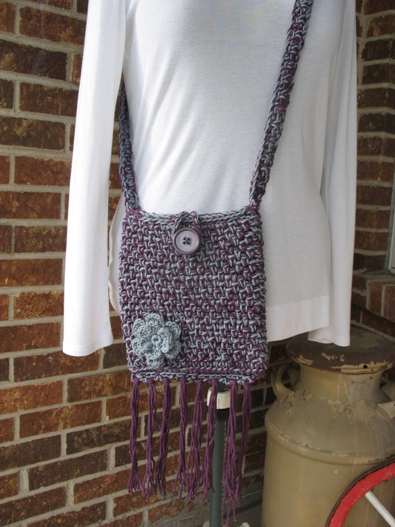 Crochet Cross-Body Bag/ Purse/ Pouch in Cotton, Fully Lined, with ...