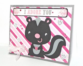 I Love You Skunk Greeting Card - Handmade Paper Card for Anniversary, Birthday or Just Because