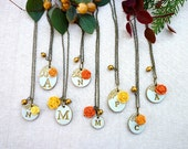 Rustic Chic Wedding - Bridesmaids gifts - Orange and Yellow Symphony - Set of 8 necklaces