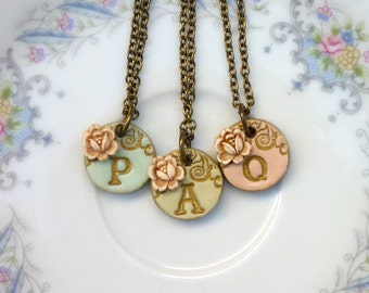 Flowergirl jewelry, Girl necklace, Flowergirl Gift, Tiny Letter Pendant for Girl, Junior Bridesmaid Gift, Set of 3