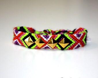 Studded neon friendship bracelet