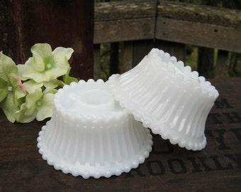 Pair of Milk Glass Candlestick Holders - Romantic Lighting - Wedding Decor - Oak Hill Vintage