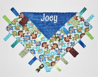 PERSONALIZED Ribbon Tag Sensory Blanket with Pacifier Clip Leash Monkeys and Blue Minky