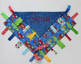 PERSONALIZED Ribbon Tag Blankie with Pacifier Clip, Large 16 x 16 Cars Trucks Trains