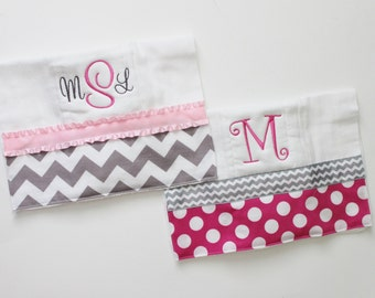 2 Personalized Burp Cloth Set in Pink and Gray - Chevron and Polka Dots