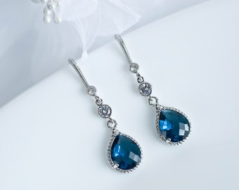 Sapphire Earrings, Blue Sapphire Bridal Earrings, Cubic Zirconia Ear Wires, Cubic Zirconia Connectors and Blue Sapphire Teardrops
