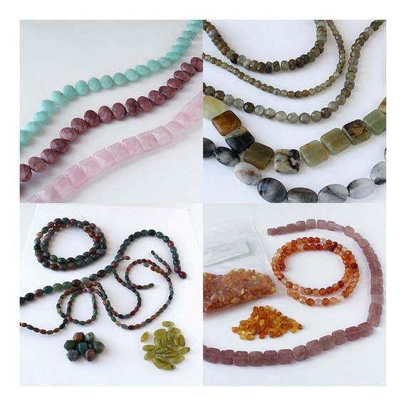 Destash Semi Precious Gemstone Beads, Amazonite, Rose Quartz, Fancy Jasper, Bulk Lot