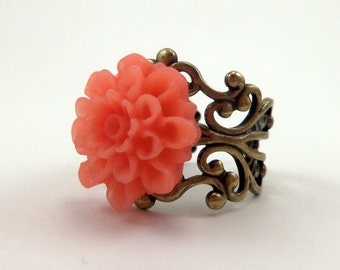 Peach Mum Ring with Brass Filigree Adjustable Band