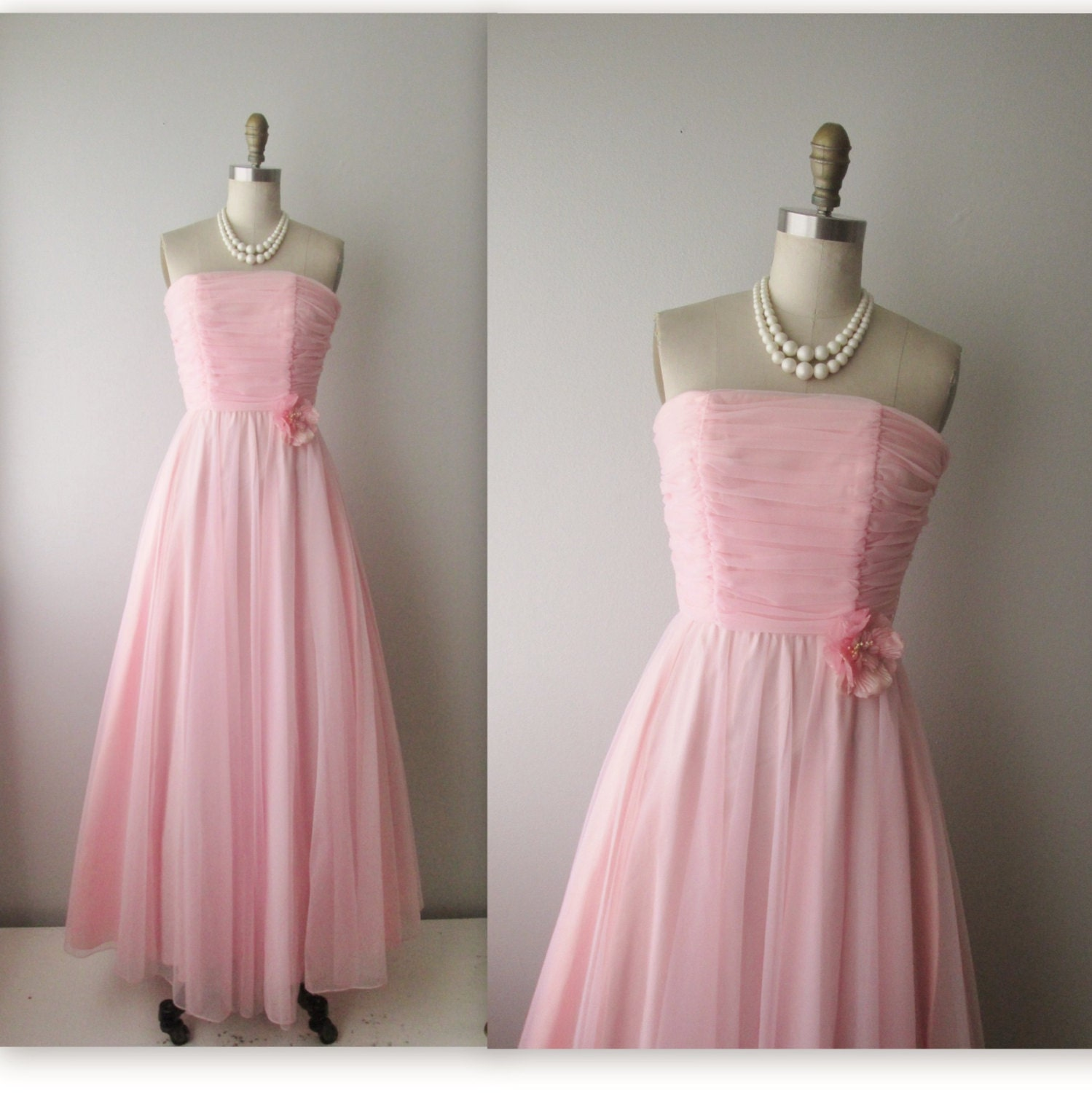 60s Prom Dress // Vintage 1960s Ruched Pink Chiffon Wedding