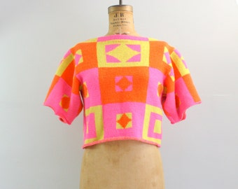 neon sweater / 1980s sweater / cropped sweater / fluorescent sweater