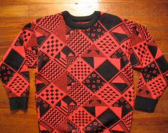 women's vintage patterned oversized sweater.