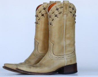 One of a Kind, Frye, Made in Spain, Studded leather ladies cowboy boots, 8 M NICE