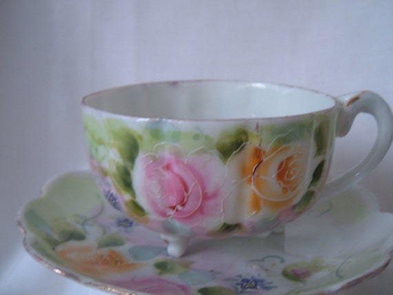 Nippon cup and scalloped  saucer with pink roses