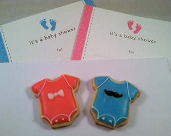 Girl Bow Baby Shower Sugar Cookies, Boy Mustache Baby shower cookies 2
