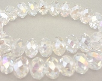 10mm clear crystal beads, slight AB faceted rondelles, 10mm clear Chinese crystal, qty 16