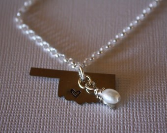 Handmade Oklahoma Nickel Pendant with Sterling Silver Necklace, Smooth Finish, Hammered Finish