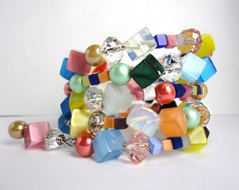SUGAR CUBE Atomic TWISTER - Delicious Colorful 5 Loop Wrap Bracelet - 1960's Madmen Style