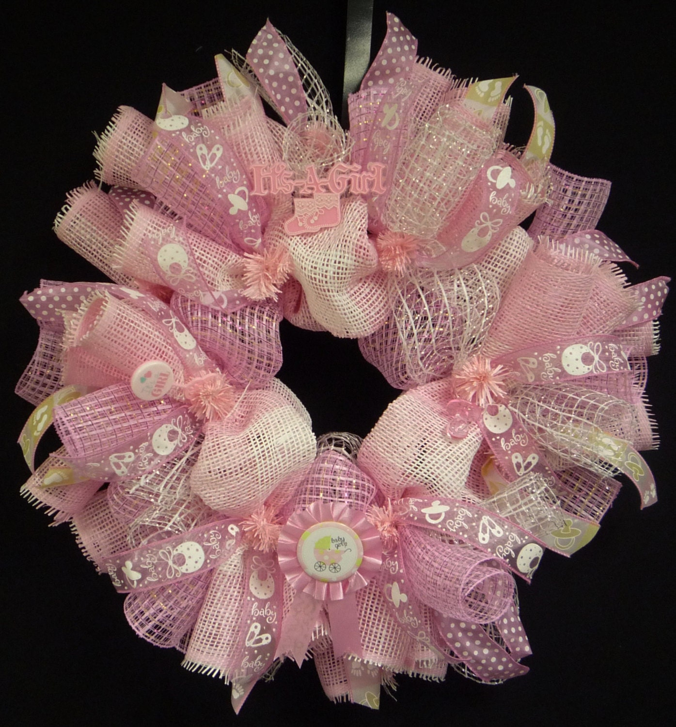 its a girl baby girl wreath poly mesh wreath baby shower