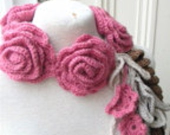A lovely crochet roses necklace scarf scarflette lariat in natural colors and pink