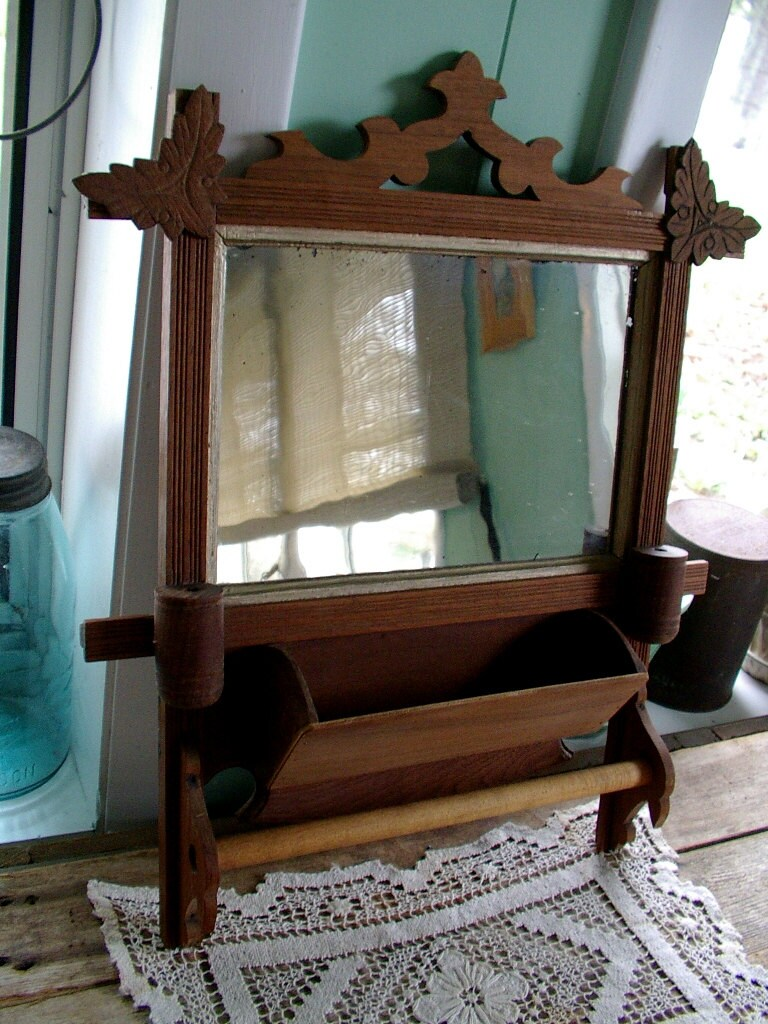 folk art wood shaving mirror with comb shelf and towel bar. Black Bedroom Furniture Sets. Home Design Ideas