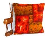 SALE Retro cushion in 50s Autumn Orange Abstract  RARE Barkcloth Vintage Fabric