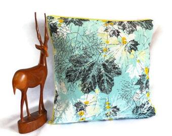 Retro cushion in 50s vintage fabric -  Turquoise Leaf  Barkcloth