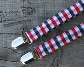 Red, White & Blue gingham little boy matching suspenders - photo prop, wedding, ring bearer, accessory