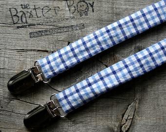 Light blue and dark blue gingham little boy suspenders - photo prop, wedding, ring bearer, accessory