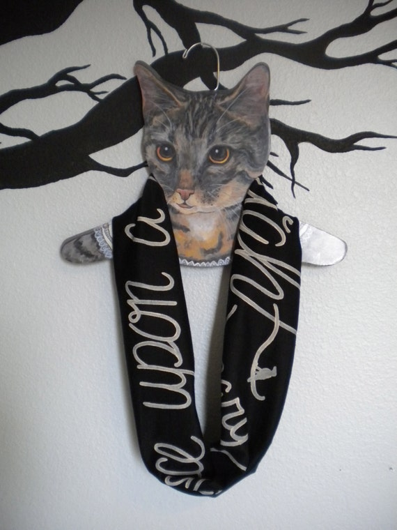 Edgar Allan Poe Skinny Infinity Scarf The Raven Nevermore: Black and ivory