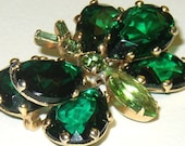 Vintage Book Piece Green Rhinestone Butterfly Bug Insect Brooch