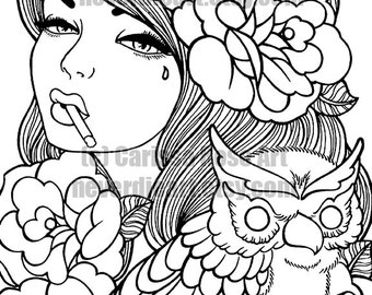 Digital Download Print Your Own Coloring Book Outline Page - Taken For Granted Tattoo Flash Art by Carissa Rose