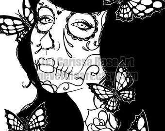 Digital Download Print Your Own Coloring Book Outline Page - Sugar Skull Girl with Butterflies by Carissa Rose