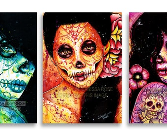 Set of THREE Separate Signed Prints Never Forget Set Sugar Skull Girl Art Day of the Dead Tattoo Decor 5x7 8x10 or Apprx 11x14 in