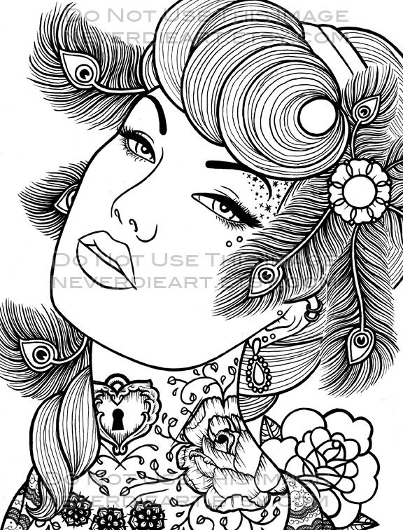 Pics For Gt Pin Up Girl Coloring Pages Pin Up Coloring Pages
