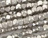 Brass-3.3mm Cornerless Cube Bead-Silver-24 Inch Strand