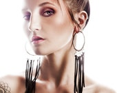 10g Steel and Recycled Suede Hoops - Earrings for Stretched Lobes - Gauges