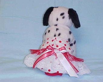 Female Dog Diaper Pants Pet Wrap Doggie Puppy  Panties Skirt Britches Size XSmall To XLarge Red Polka Dots Fabric