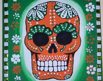 Original Painting Canvas E: green, orange, and white Dia de los Muertos (Day of the Dead) skull on canvas.