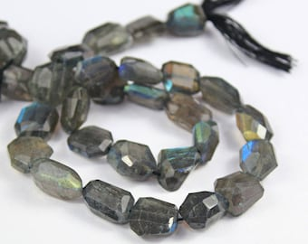 Natural Blue Grey Flash Fire Labradorite Step Cut Faceted Uneven Nugget Beads Strand, 10 inches, 12-18mm. SKU1179A