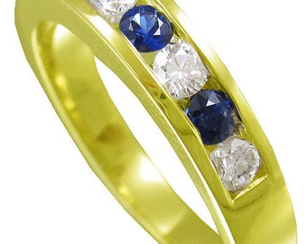 14k white gold round cut diamond and sapphire men's band channel set 1.00ctw