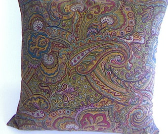 Handmade Pillow Covers / Toss Cushion Covers / Perfect Paisley / Home Decorating / Vintage Designer Fabric / Jewel Tones /  100% Cotton
