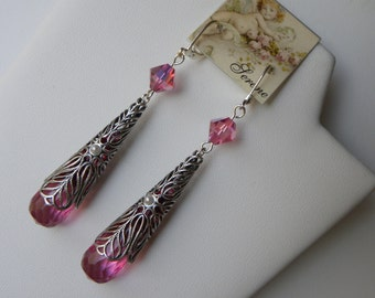 Long Pink Filigree Spike Earrings Long Red Filigree Pendulum Earrings